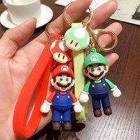 2021 New Super Bros Mario Animal Crossing Keychain Cartoon 3D Keyring Fashion Bag Charms Pendant Key Chain Trinket Kid Gift