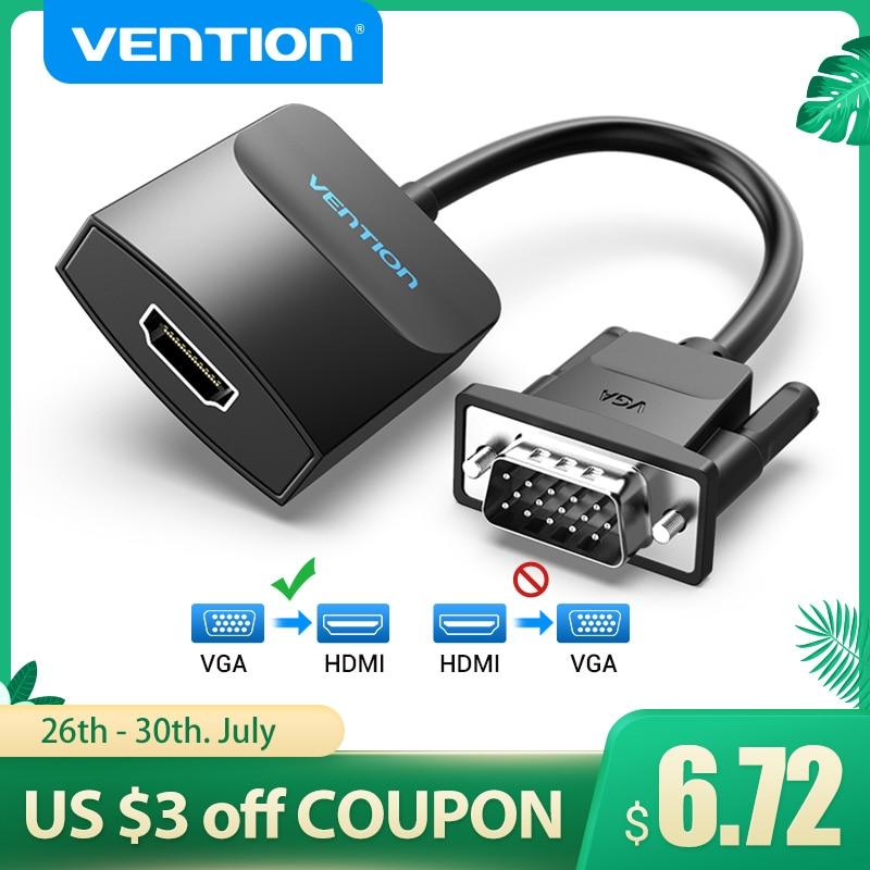 Vention-Cable convertidor VGA a HDMI, adaptador 1080P VGA macho a HDMI hembra con Audio USB de alimentación para PS4/3 HDTV VGA HDMI