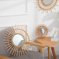 북유럽 스타일 벽걸이 메이크업 거울, 라운드 드레싱, 욕실 벽걸이 거울, 등나무, 혁신적인 예술 장식, 가정용