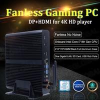 Eglobal Fanless Mini Pc Gamer Intel Core i7 8550U 8565U 4 Core 8 Threads Windows 10 Pro Key 2 * DDR4 linux Desktop Pc Computer