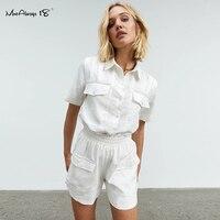 Mnealways18 Loose כותנה לבן 2 חתיכה להגדיר נשים חליפת כיסים קצר שרוול חולצות וכפתורים רחב רגל מכנסיים קצרים סט גבירותיי קיץ