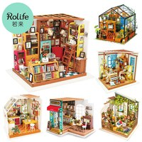 Robotime Rolife DIY 나무로되는 소형 인형 집 온실 수제 인형 집 아이들을위한 가구 장난감을 가진 부엌 숙녀 선물