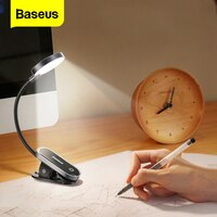 Baseus קליפ שולחן מנורת LED שולחן מנורת גמיש מגע מחקר קריאת מנורה שליד המיטה השינה שולחן העבודה USB נטענת שולחן אור