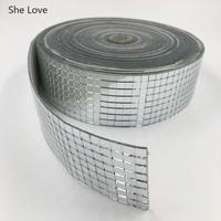Chzimade 1 롤 자기 접착 사각 유리 거울 모자이크 타일 DIY 욕실 거울 벽 스티커 수제 공예 홈 장식