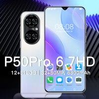 Neueste Globale Version Huawe P50 Pro Smartphone 6800mAh Batterie 16G 512G 6,7 Inch Snapdragon 888 32MP 50MP gesicht ID Handy
