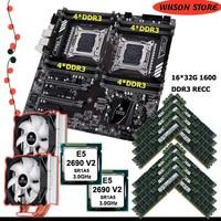 HUANANZHI X79-16D dual X79 motherboard mit speicher 512G(16*32G) REG ECC dual CPU Intel Xeon E5 2690 V2 3,0 GHz dual CPU kühler