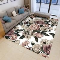 Fashion 3D Printing Carpet Rose Flower Flannel Rug Wedding Carpet Antislip Living Room Carpet Large Girls Room Mat Home Hot Sale