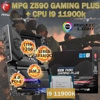 LGA1200 MSI MPG Z590 GAMING PLUS Placa-mãe + Intel Core i9 11900K CPU DDR4 128GB M.2 PCI-E 4,0 Chia Motherboard Combo Desktop Z590