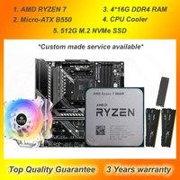 B550 Micro-ATX Motherboard mit CPU AMD RYZEN 7 5800X 3800X 3700X R9 3900X HUANANZHI A600 CPU Kühler 64G DDR4 RAM 512G M.2 SSD