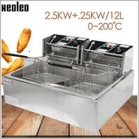 XEOLEO 12L 딥 프라이어 상업용 전기 프라이어 스테인레스 스틸 프라이 더블 바구니 튀김 기계 튀김 프렌치 기계 5000W