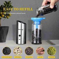 전기 소금과 후추 그라인더 USB 충전식 후추 향신료 도구 밀링 자동 조정 가능한 거친 밀 주방 Ma P3V8