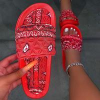 Graffiti Slippers Women Cashew Flowers Bandana Slides for Woman Home Sandals Women's Summer Footwear New Fabric 2020 Wholesale