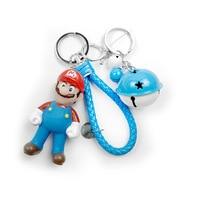 Super Mary cute cartoon game character Mario bell knitting rope Car Keychain Keychain children's birthday gift Keychain