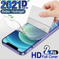 2個4 18k hdスクリーンプロテクターあいふぉん iphone 11 12プロマックスミニxrヒドロゲルフィルム iPhone xs最大xr × 7 8 6s 6プラスse 2020ないglas グラス