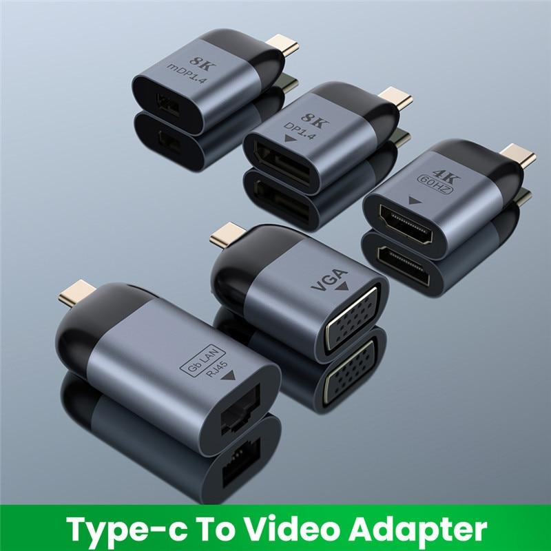 UHD 8K Type-C to HDMI-compatible/VGA/DP/RJ45/Mini DP Video Converter 4K 60Hz USB Type C Adapter For Samsung Huawei MacBook