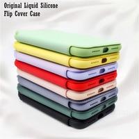 オリジナル液状シリコーンフリップケースiphone xr xs max x 8 7プラス11プロマックス12ミニse 2020ソフトカバー保護レザーケース