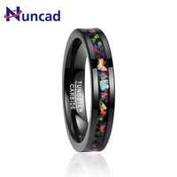 Inlaid Opal plated black tungsten steel ring 4mm width 100% genuine wedding band tungsten carbide