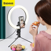Baseus Dimmable LED Selfie טבעת אור & חצובה USB Selfie אור טבעת מנורת גדול צילום Ringlight & Stand עבור סלולרי טלפון Stand
