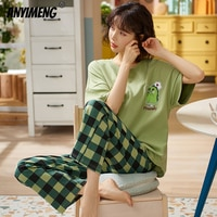 New Sleepwear Cartoon Cotton Pajamas for Women Long Pants Short Sleeved Summer Spring Loungewear Fashion Home Clothing Homewear
