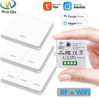 와이파이 미니 스위치, 투야 스마트 라이프 앱 푸시 버튼 라이트 스위치 RF 433Mhz 벽 패널 DIY 릴레이 모듈 타이머 구글 홈 알렉사