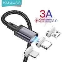 KUULAA LED Magnetische Kabel USB Lade Typ C Kabel Magnet Daten Ladegerät Micro Kabel Draht Handy Kabel Für iPhone schnur