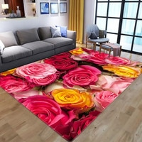 Rose Flower Flannel Rug Wedding Carpet Antislip Living Room Carpet Large Girls Room Mat Home Hot Sale Fashion 3D Printing Carpet