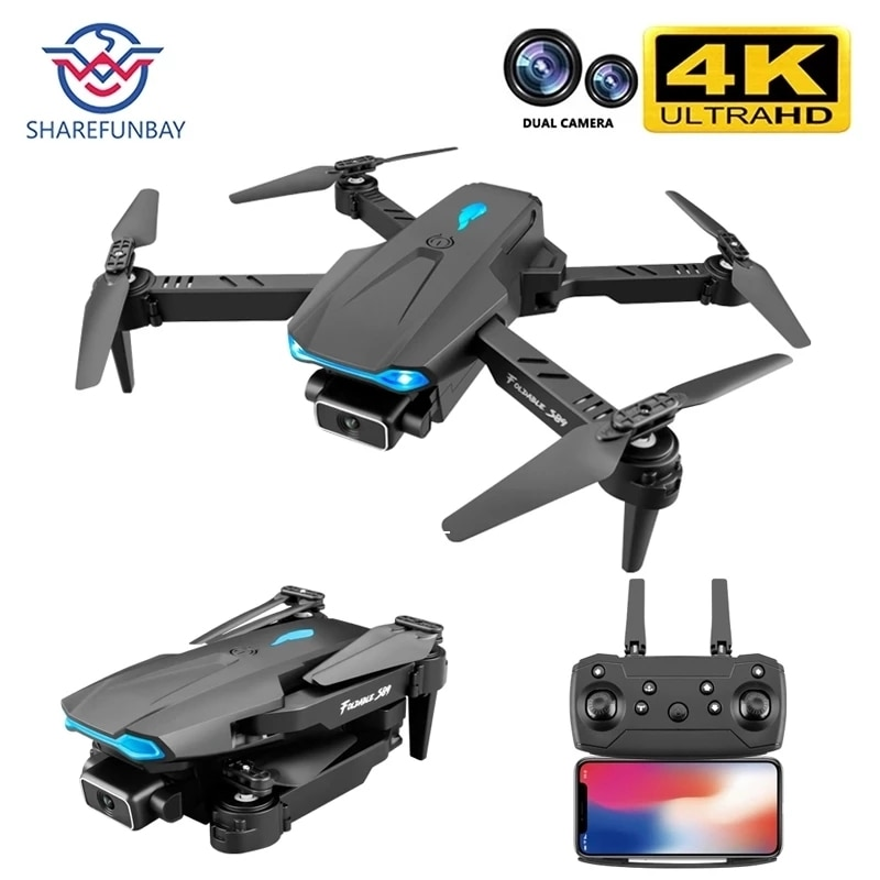 SHAREFUNBAY S89 Pro Rc Mini Drone 4k Profesional Cámara Dual de HD Fpv Drones con cámara Hd 4k helicópteros Rc Quadcopter Juguetes