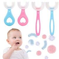 아기 칫솔 어린이 360 학위 U 모양의 칫솔 Teethers 부드러운 실리콘 아기 브러쉬 어린이 구강 케어 청소