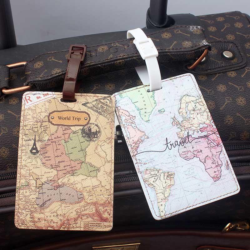 Kreative Welt Karte Hohe Qualität Reise Zubehör Gepäck Tag PU Koffer ID Addres Halter Gepäck Internat Tag Tragbare Label