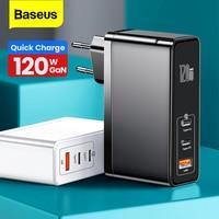 Baseus 120W 100W GaN USB C Ladegerät Typ C Quick Charge 4,0 3,0 Typ-C PD Schnelle ladegerät Für Macbook Pro iPad iPhone 12 11 8 Xiaomi