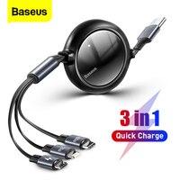 Baseus 100W 3 in 1 Versenkbare USB C Kabel Für iPhone 12 Ladegerät Micro USB Typ C Schnelle Lade kabel Für Macbook Samsung Xiaomi