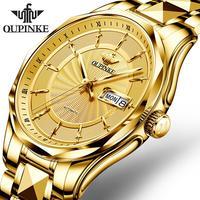 OUPINKE Mechanical Watch Men Wrist Automatic Luxury Watches Men Waterproof Gold Tungsten Steel Watch Clock Montre Homme P3172-M
