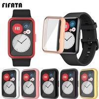 FIFATA-TPU 도금 소프트 실리콘 시계 화면 보호기 쉘, 화웨이 워치용, 스마트 밴드 범퍼 케이스 커버 액세서리