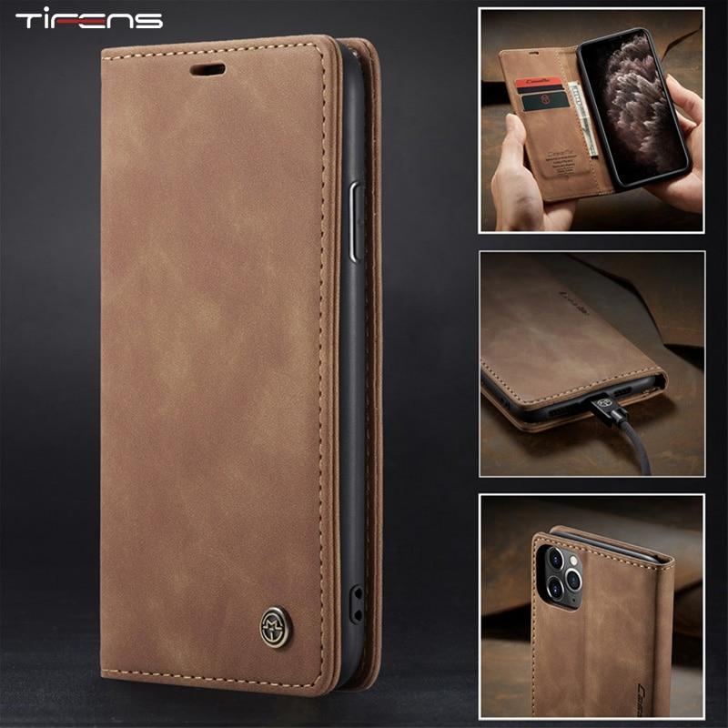 Funda magnética de lujo con tapa para iPhone, carcasa de cuero con ranura para tarjeta para iPhone 12 Mini 11 Pro XS MAX X XR 8 7 6s 6 Plus 5 5s SE 2020
