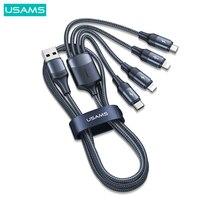 USAMS 4 في 1 USB مايكرو كابل نوع C سريع تهمة كابل آيفون 13 12 11 3 في 1 كابل لهواوي شاومي البرق شحن سريع