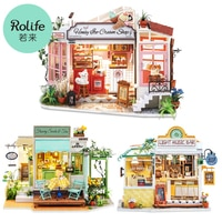 Robotime-DIY 나무 미니어처 인형의 집, 꽃무늬 과자 차, 수제 인형의 집, 조명 음악 바 및 가구 장난감 선물