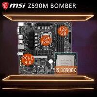 LGA 1200 MSI Z590M BOMBER Gaming Motherboard Mit Intel Core i9 10900K Motherboard Combo DDR4 PCI-E 4,0 Intel Z590 placa-mãe Neue