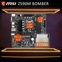 LGA 1200 MSI Z590M BOMBER Gaming Motherbord Combo i9 Intel Core i9 11900K CPU 16-themen Z590 Gaming placa-mãe Kit DDR4 1200 Neue