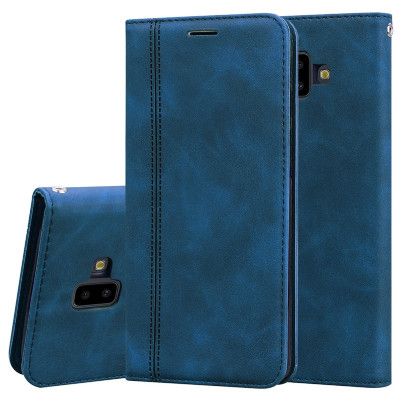 Funda con tapa de cuero para Samsung Galaxy J6 Funda magnética para teléfono con cartera para Samsung J6 Plus 2018 J6 + J 6 Plus J600F J610F