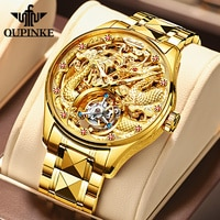 OUPINKE Luxury Gold Dragon Mechanical Watch for Men Tourbillon Sapphire Hand Wind Waterproof Top Brand Wristwatch Transparent