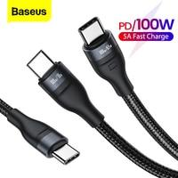 Baseus PD 100W USB Typ C Zu Typ-C Kabel 5A Schnelle Lade Ladegerät für Xiaomi Samsung Huawei 2 in 1 USB-C Datum Kabel Draht Kabel