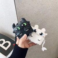 Carino Drago per Airpods Pro Caso Del Fumetto Del Drago Nero Del Silicone di Stile di Protezione di Ricarica Della Cassa Della Scatola per Airpods Pro 3 Accessori