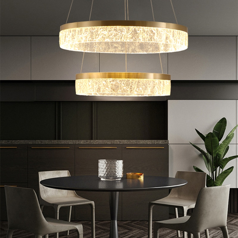 JMZM Moderne Einfache Anhänger Licht Luxus Runde Indoor Lampe Goldene Hängende Licht Für Wohnzimmer Restaurant Schlafzimmer Küche Villa