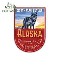 EARLFAMILY-13cm x 9cm 애니메 자동차 스티커 비닐 JDM RV 밴 3D DIY 파인 데칼 그래픽, 알래스카, 미국, 북쪽으로 향후