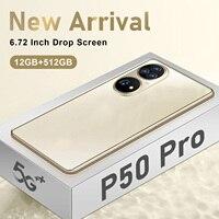 2021 neue Ankunft P50 Pro Smart Telefon 256GB/512GB 16 + 32MP 6,72 Zoll Drop Bildschirm Andriod 10 Fingerprint Gesicht ID Handy Celular