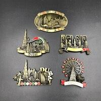 Free Shipping 3D Refrigerator Stickers Magnets Metal Fridge Magnets Dubai Belgium Austria Vienna Famous Building Model Souvenir