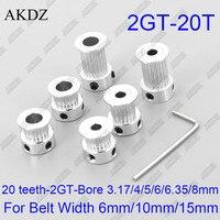 Polia de distribuição 20 dentes 2gt diâmetro 3.175/4/5/6/6, 35mm para correia síncrona aberta gt2 largura 6mm/10/15mm pequeno backlash 20 dentes 20 t