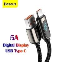 Baseus USB Typ C Kabel 5A 2m Schnelle Ladekabel für Xiaomi Huawei Typ-C Handy Daten kabel USB-C LED Digital Display Draht