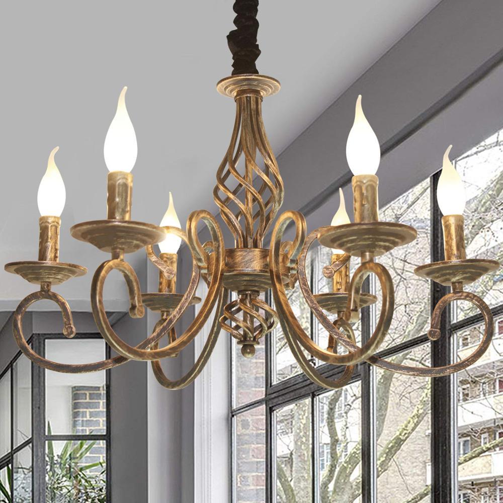 Ganeed Vintage Kronleuchter Antike Bronze Hängen Licht Bauernhaus Goldene Lampe Retro Anhänger Für Wohnzimmer Hotel Lobby Home Bar