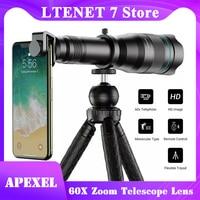 APEXEL HD 60X Zoom Teleskop Objektiv Telefon Objektiv FMC Professionelle Handy Monokulare Objektiv Mit Stativ für iPhone Smartphones
